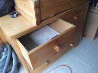 Waxed Victorian pine chest of drawers