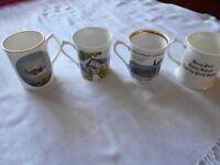 Collection of china mugs.
