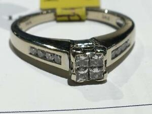 #1543 14K LADIES ILLUSION PRINCESS CUT DIAMOND ENGAGEMENT RING *SIZE 5 3/4* APPRAISED AT $1950.00 SELLING FOR $650.00