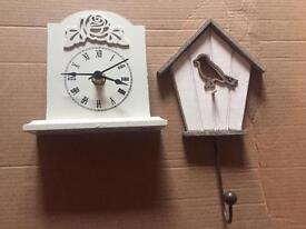 Vintage shabby chic small battery clock and bird key holder