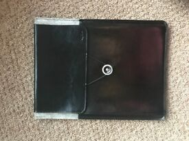 "13"" Leather and felt laptop sleeve with front pocket"