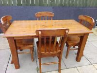 Dining / Kitchen Pine Table & Chairs Set - Rustic style ** EXCELLENT Quality **