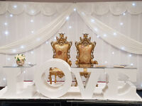 WEDDING DECOR TO HIRE - ENGLISH AND ASIAN - Huge range, top quality, fb Ice and Lights Events