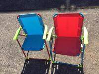 2x children's foldable chairs