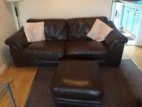 Brown 3 seater sofa 2 chairs and a foot stool for sale