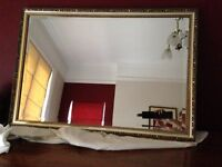 Ornate gold frame large bevelled mirror - as new - collection from Poole