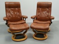 Ekornes Stressless 2 x swivel recliner leather chairs and Stools Tan 99209