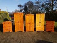 Solid pine bedroom furniture ROBES £85 CHESTS £55