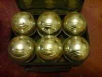 6 STEEL FRENCH BOULES (BOWLS) SET PETANQUE BALLS