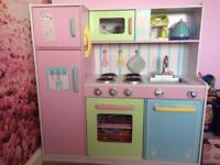 Kids wooden play kitchen and accessories