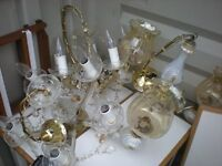 Light fittings. Pair crystal chandeliers, one other, two kitchen light fittings.