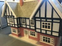 Beautiful hand made large wooden dolls house victorian/mock tudor