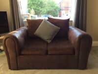 Brown Fabric 2 and 3 Seater Sofa