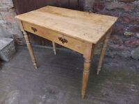 """Antique pine table, 36"""" width. Really rustic, genuine old character."""
