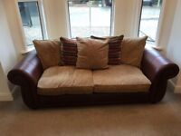3 seater sofa brown leather arms and mink colour seats and cushion backs