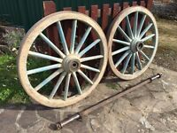 Old Cart Wheels complete with axle