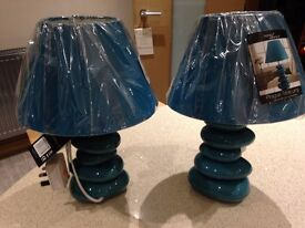 2 Teal Blue / Green Pebble Table Lamps Brand New £6 for both