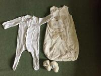 Baby grow baby sleep bag and slippers