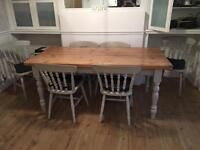 Solid Pine Table Shabby Chic Grey
