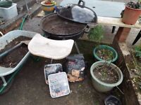 Barbeque Large standing on tripod, excellent condition with 3KG bag of charcoal