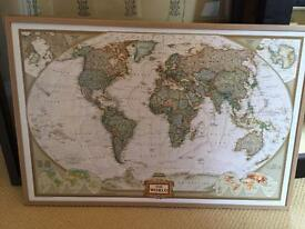 World map with cork back