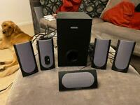 Creative labs surround sound system with subwoofer