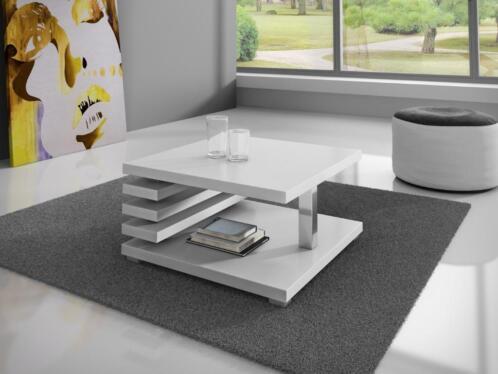 Eetkamertafel Vierkant Wit : ≥ salontafel koya vierkant tafel wit zwart eiken of hoogglans