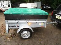 BRENDERUP 5-3 X 3-6 (600KG) GOODS TRAILER WITH SIDE EXTENSIONS & COVER...