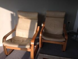 Ikea Leather Armchairs x2