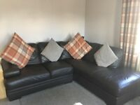 Chocolate brown Corner Sofa and chair