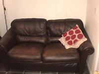 2 x Peter Green brown leather sofas