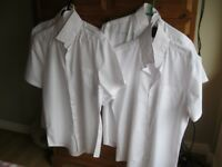 "Four Plain White Short Sleeved Men's Shirts - Sainsburys - Size 16"" collar"