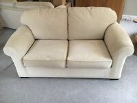Cream good quality sofa bed with metal pull out frame