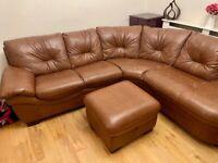 Leather Corner Sofa, Brown