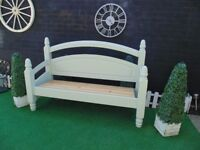 SOLID PINE FARMHOUSE GARDEN BENCH MADE IT FROM A KING SIZE BED FRAME PAINTED WITH F&B PAINT