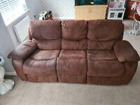 3 & 2 seater suade recliner sofas