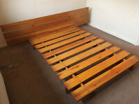 Scandanavian style double pine bed. Made by a professional carpenter, good condition.