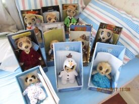 Meerkat collectable toys - 11 toys all unmarked in original display boxes