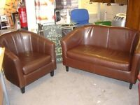 Small Tub Suite in Chocolate Brown Faux Leather. 2 Seater Settee Sofa and Armachair