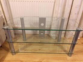 Gray metal glass TVs stand