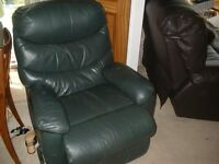RECLINER-ARMCHAIR-MANUAL-DARK-GREEN-FINISH-USED-CONDITION-WORKS-FINE