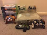 Xbox crystal bundle with 15 games, 4 controllers, DVD remote adapter