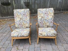 Pair of Vintage Ercol Blonde Armchairs - Blue Label