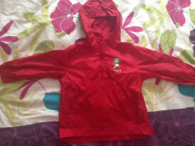 Next Girls/ Boys Red Raincoat 2-3Yrs Ex con