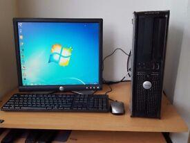Complete Dell Desktop Computer PC Wifi Windows 7 Office Dual Core Processor 4GB RAM 250GB HDD