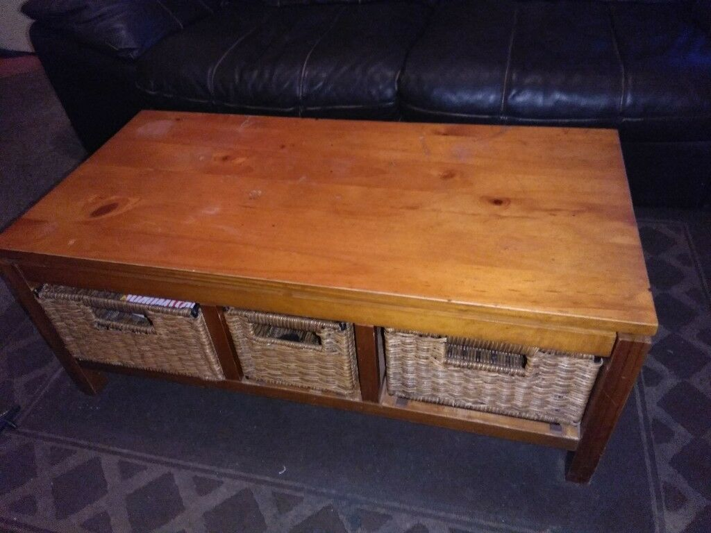 Next Oak Coffee Table With Wicker Baskets In Leith Walk