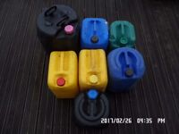 7 second-hand plastic storage containers, about 25 litres each
