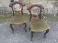 A pair of Victorian Antique Dining Chairs ideal for restoration