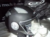 Matt Black Open Face Motorcycle Helmet Large Scooter Bike Brand New