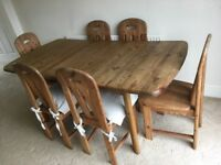 Extendable pine dining table and 6 matching chairs
